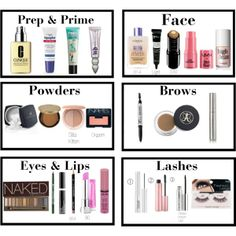 """""""Products of Choice for a Full Face"""" by jillybutter on Polyvore   Shades and products listed"""
