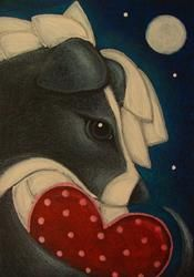Art: LOVELY GREYHOUND ANGEL DOG WITH VALENTINE HEART FROM HEAVEN by Artist Cyra R. Cancel