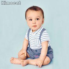 Hot Baby boys Clothing Sets infant bow striped Shirt+short overalls 2pcs/set newborn clothes Blue Straps