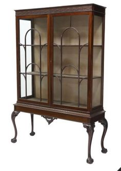 """Antique English Mahogany Chippendale Display China Cabinet H 72"""" x W 50"""" x D 18"""" #ChippendaleStyle"""