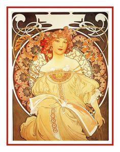 Art Nouveau Artist Alphonse Mucha s Reverie Counted Cross Stitch Chart