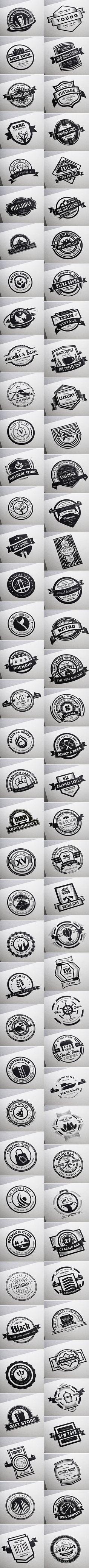 80 Vintage Labels & Badges Logos - Premium Bundle by Design District, via Behance