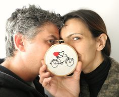 Bicycle couples gift,heart embroidery hoop wall art,4 wedding gift, valentines gift under 25 via Etsy