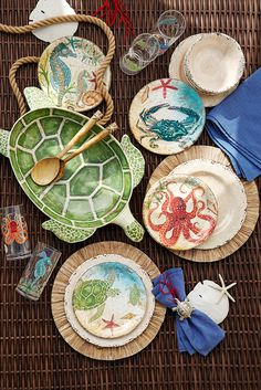 Contrary to its name, Pier 1's Speedy the Turtle Serving Bowl will sit patiently on your table until all of your guests have their fill of salad or appetizers. Let him frolic with other sea creatures on break-resistant melamine dinnerware and serveware, acrylic drinkware and napkin rings to create a beach house feel on your patio or poolside.dinner