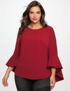 Flounce Elbow Sleeve Top | Women's Plus Size Tops | ELOQUII