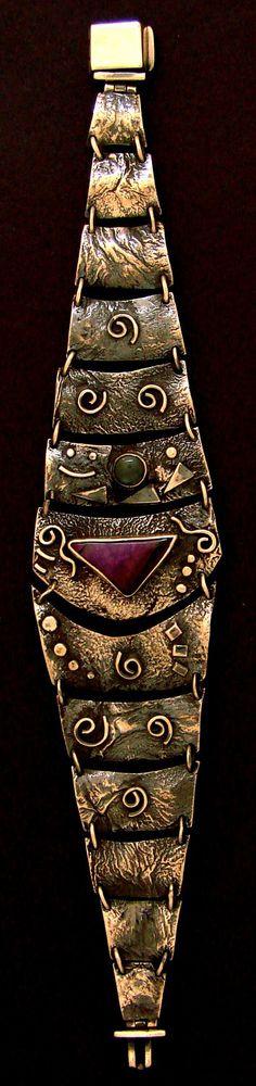 Bracelet | Stefano Dimalta.  Sterling silver, Sugalite, Agate - wonderful reticulation!