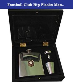 Football Club Hip Flasks-Manchester United 'The Red Devils' Football Club 6Oz Hip Flask Gift Set. A wonderful gift set for that special person in your life. The set comprises of a 6oz Stainless Steel Hip Flask embellished with an English Enamel Football Badge, 2 shot glasses and a filling funnel, all held securely in their own flocked sections within a wooden box which has a hinged wooden lid with Perspex insert. The perfect gift for any occasion.