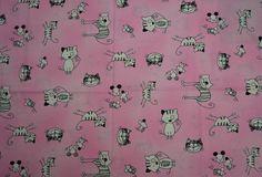 Baumwollstoff | Katzen | rosa | www.feendesign-shop.de