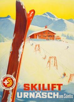 Skilift Urnash am Santis 1944 - original vintage skiing poster (ski school Leiter Hans Schoch Skischule) listed on AntikBar.co.uk