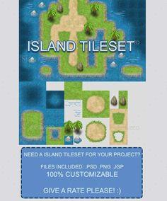 RPG Island Tileset — Photoshop PSD #tile #video games • Available here → https://graphicriver.net/item/rpg-island-tileset/11004972?ref=pxcr