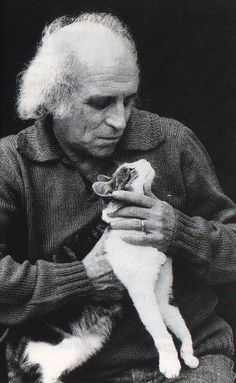 Great french singer, poet and composer born in Monte-Carlo Léo Ferré with his cat.