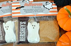Use these FREE printable bag toppers to make spooky S'mores kits, perfect for your Halloween party.