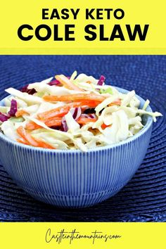 Coleslaw and BBQ just go together and KFC makes the best Coleslaw around. This low carb, Keto friendly version will make you forget all about your diet and let you enjoy your dinner! At 2 net carbs per cup you can enjoy a healthy serving and stay on track with your weight loss goals. Plus, it only takes ten minutes to make! #healthyweightloss #ketoKFCcoleslaw #ketodietsides #easyketosides Kfc Coleslaw, Creamy Coleslaw, Keto Cole Slaw, Low Carb Bbq Sauce, Ten Minutes, Gordon Ramsay, Healthy Side Dishes, Jamie Oliver, Diet And Nutrition