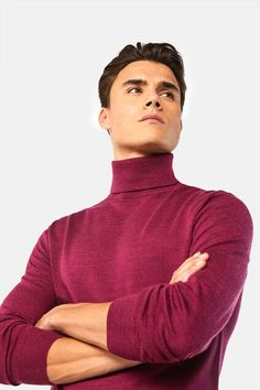 WE Fashion wollen trui dark fuchsia Red Turtleneck, Men Sweater, Turtle Neck, Skinny, Dark, Fitness, Model, Sweaters, Birthday