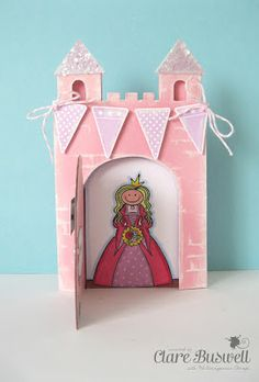 Clare's creations - Fun castle shaped card, featuring the new Fairy Princess stamps from Waltzingmouse Stamps.