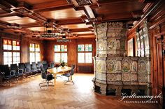 The ceremony room in the old town hall of historic Bülach, Switzerland. Tiled oven dates back to 1673.