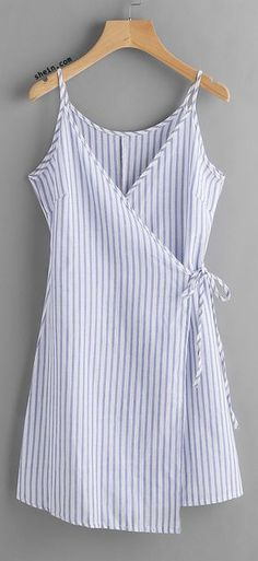Vertical Striped Wrap Cami Dress - Or - an apron, I'm deciding to ORDER! Sewing Clothes, Diy Clothes, Clothes 2018, Clothes Women, Dress Clothes, Casual Clothes, Cute Dresses, Casual Dresses, Trendy Dresses