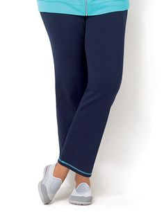 Colorblock Yoga Pant: Cozy up to this relaxed yoga pant with an on-trend colorblock design. A contrast color accents the pull-on banded waist with an elastic trim for a stretch fit. Matching contrast color creates threaded detail at the hem. Perfect for pairing with any of our on-the-go looks. Catherines pants are specifically designed with the plus size woman in mind.  catherines.com #catherines #plussizestyle #activelyeverafter #activewear