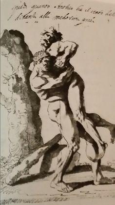 ILLUSTRATION FOR THE TREATY OF LEONARDO DA VINCI. drawing. Milan. Pinacoteca Ambrosiana. ms. H. 228. fol°. Nicolas Poussin, Evil Art, Figure Drawings, Famous Art, Italian Renaissance, Italian Artist, Michelangelo, Hercules, Action Figures
