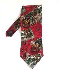 Fishing Silk Tie Museum Artifacts Fish Basket Hook Red Classic Mens Necktie #MuseumArtifacts #Tie