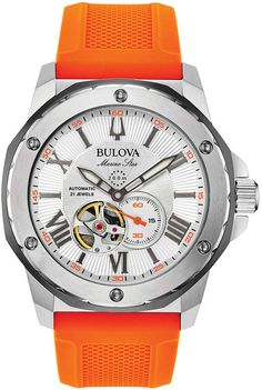 This men's Bulova Marine Star watch has a round silver-tone skeleton dial with a three-hand movement showcased in an open aperture in a stainle. - Men& Bulova Marine Star Strap Watch with Silver-Tone Skeleton Dial (Model: Star Watch, Bulova Watches, Skeleton Watches, Rubber Watches, Automatic Watches For Men, Omega Speedmaster, Rolex Daytona, Rolex Submariner, Steel Metal