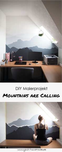 The Mountains are calling - wall painting