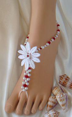 Flower, #barefoot #sandals, #beach #wedding http://www.beautifulbarefootsandals.com