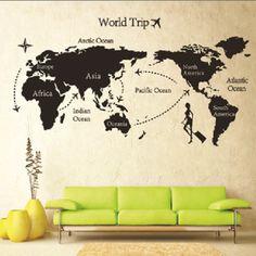 World map wall decal, world map mural wall art kids, world map wall mural, map vinyl decal, animal country map map wall sticker : Wall Stickers World, World Map Sticker, World Map Wall Decal, World Map Mural, Wall Stickers Room, Nursery Wall Decals, Bedroom Wall, Bedroom Decor, Kids Bedroom