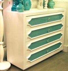 Tall Boy Boca Dresser in Aqua and White Painted Furniture, Home Furniture, Retro Dresser, Diy Dresser Makeover, Beach Theme Bathroom, Aqua Glass, Built In Cabinets, Home Projects, Diy Home Decor