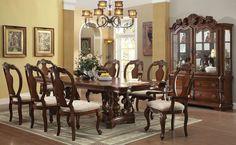 "118"" Ozark Cherry Formal Pedestal Dining Table Set | Table Seat 10"