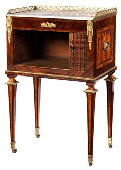 """Fine Louis XVI bedside table, stamped """"RVLC"""" Height: 80 cm. Width: ca. 50 cm. Depth: 33 cm. France, 18th century. Oak and softwood structure with select rosewood, tulipwood and other woods partly stained green and maple. Free-standing, with key. Restored and signs of ageing."""