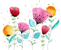 Colorful flowers is a collection of small format approx. It is composed of different paintings in watercolors bright colors. Colorful flowers are different types of flowers, made in different styles but with common characteristics. Watercolor And Ink, Watercolour Painting, Watercolor Flowers, Painting & Drawing, Watercolours, Line Art Flowers, Flower Art, Doodle Art For Beginners, Watercolor Paintings For Beginners