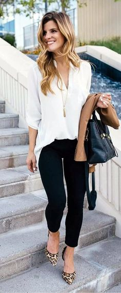 Ivory blouse, black skinny jeans and leopard print heels - fall outfit professional wear. pretty spring work outfits for women Elegant Summer Outfits, Spring Work Outfits, Casual Work Outfits, Mode Outfits, Work Casual, Fashion Outfits, Casual Fall, Winter Outfits, Summer Business Casual Outfits