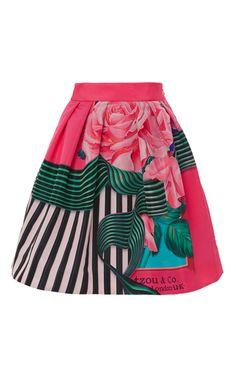 Algernon Graphic Rose Print Skirt by MARY KATRANTZOU Now Available on Moda Operandi