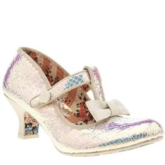 Irregular Choice bring us another unique option with the Lazy River Iridescent in a high-shine white. Catching the light beautifully, it sports white glittery bow and a chunky 6cm block heel for supportive height. A hook-and-loop touch fastening finishes.