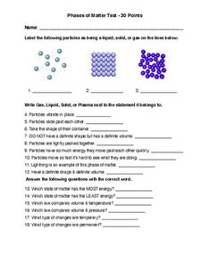 grade science test over states of matter and physical & chemical changes. A modified version is also included. States Of Matter, 6th Grade Science, 5th Grades, Physics, Fifth Grade, Physique