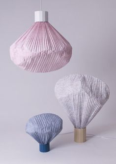 Beautifully textured lamps by Inga Sempe, vapeurs colorees, moustache lamps 2012