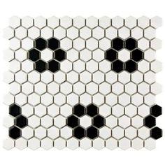 Tile Vault Black White Hex Tile Flowers Bath Bathroom renos