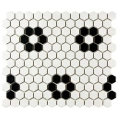 Preferred tile for back hall and back bath: Merola Tile Metro Hex Matte White with Flowers 10-1/4 in. x 11-3/4 in. x 5mm Porcelain Mosaic Floor and Wall Tile (8.54 sq.ft./ca)-FDXMHMWF - The Home Depot