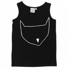 Vests Black Cat Out Line / Top schwarz mit Katzenmaske