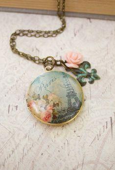 Paris Locket Necklace Pink Rose Charm Long Necklace Patina Flower Charm Necklace French Locket Floral Photo Locket Secret Hiding Place