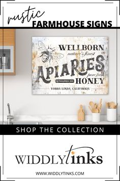 Vintage Farmhouse Apiaries Honey Sign with Family Name - Widdlytinks Wall Art Rustic Wall Decor, Rustic Walls, Rustic Signs, Country Decor, Entryway Decor, Wall Decor Design, Unique Wall Decor, Modern Farmhouse Decor, Vintage Farmhouse