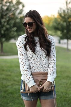 White Lace Cutout Sweater with J.Crew Denim Roll-up Shorts  and Rebecca Minkoff Tan MAC