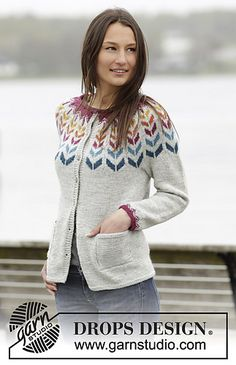 "Joyride Cardigan - Knitted DROPS jacket with round yoke and Nordic pattern in ""Karisma"". - Free pattern by DROPS Design Fair Isle Knitting Patterns, Fair Isle Pattern, Sweater Knitting Patterns, Cardigan Pattern, Knit Patterns, Free Knitting, Drops Design, Pulls, Free Pattern"