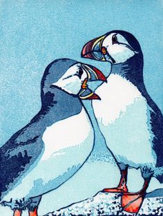 Puffins. Linocut, 15cm x 20cm, 10 of 20 remaining, £30 unframed.