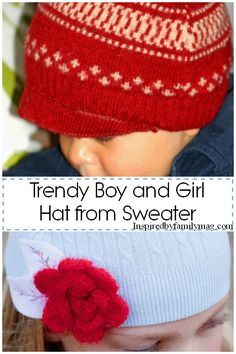 Recycled Sweater into Hat for boys and girls