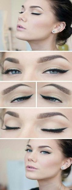 natural looking makeup with cat eye
