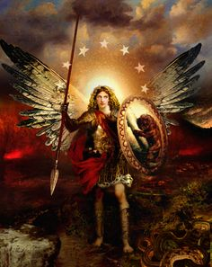 The Archangel Michael--Angel Art and a brief introduction to Angelology; New Pictures of Angels by Howard David Johnson featuring oil paintings,   prismacolors and digital media.
