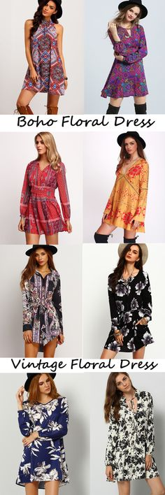 Love Floral Dresses, Boho Flora Print,Vintage Floral ,Street Floral,More Trendy Spring & S Outfit  Floral Styles at MakeMeChic.com