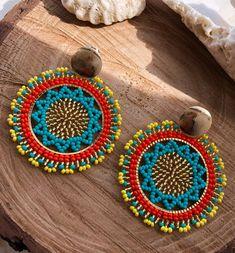 Beaded Earrings, Earrings Handmade, Beaded Jewelry, Crochet Earrings, Handmade Jewelry, Beaded Bracelets, Bead Crochet Rope, Brick Stitch, Diamond Jewelry